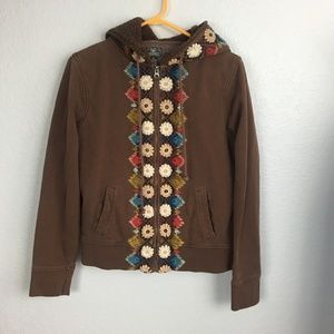 Lucky brand brown embroidered zip up hoodie-XL